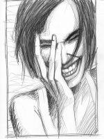 Bleistift Zeichnung Lachende Frau