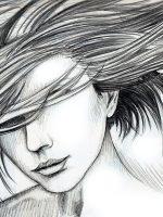 Bleistiftzeichnung Einfach Frau Haare Wind