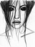 Bleistiftzeichnung Frau schwarze Augen