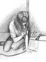 Bleistiftzeichnung Sängerin