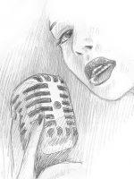 Bleistiftzeichnung Sängerin Mikrofon