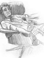 Bleistiftzeichnung Skizze einfach Mann im Sessel