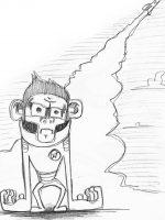 Bleistiftzeichnung Skizze einfach Raumschiff Affe