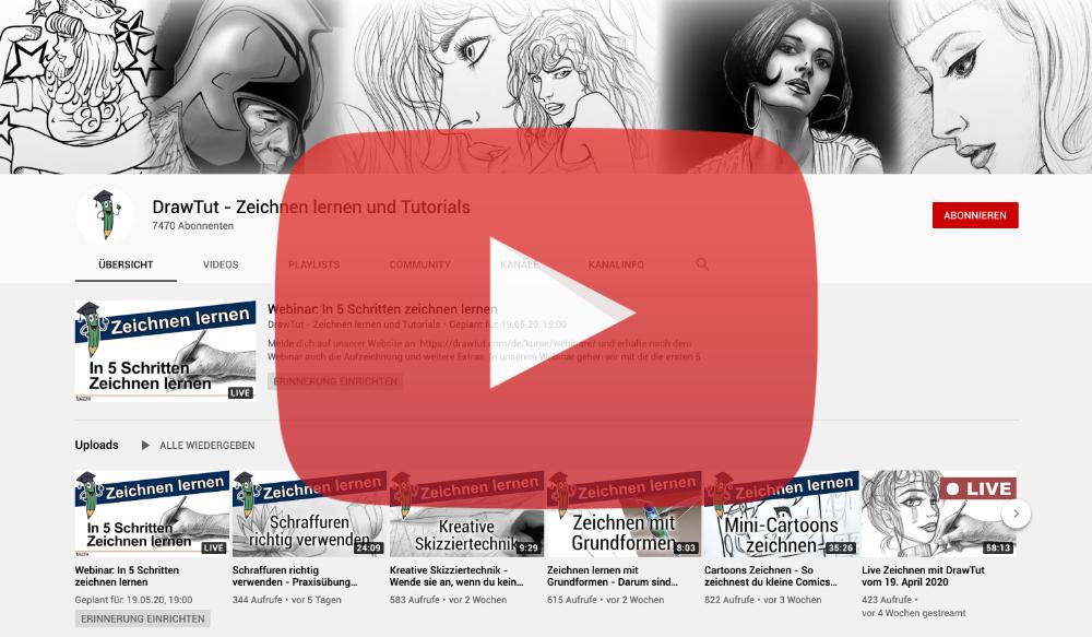 Zeichnen lernen YouTube Drawtut Banner