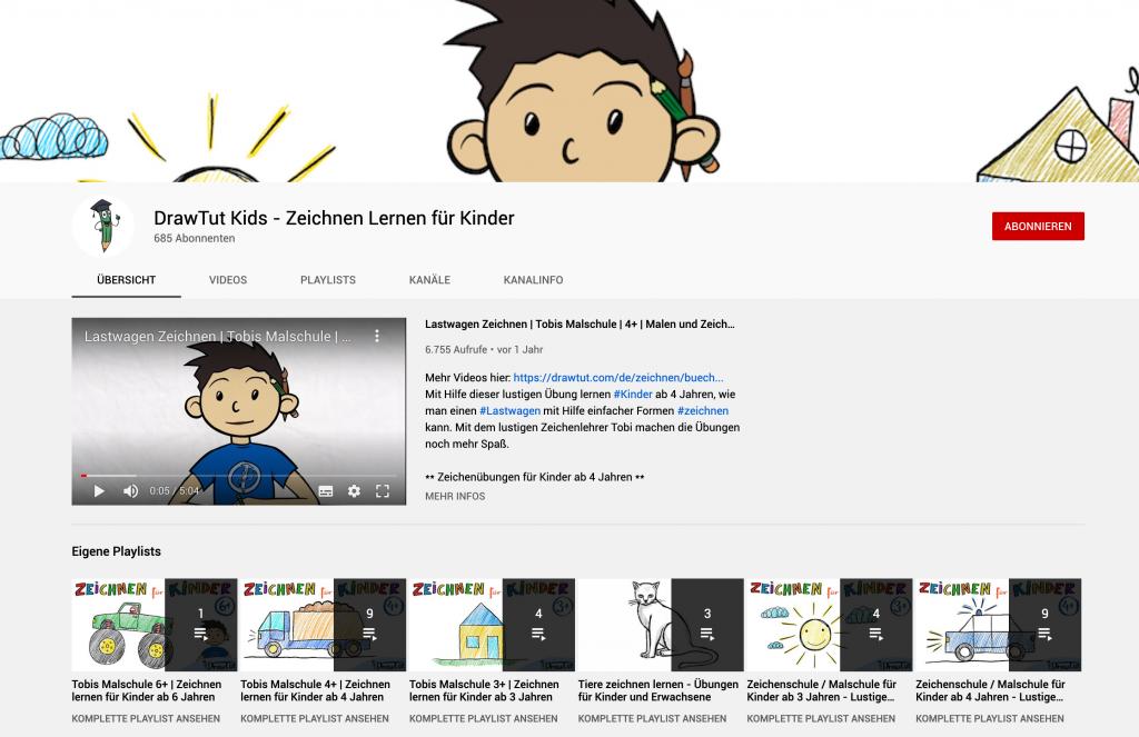 Zeichnen lernen für Kinder auf YouTube