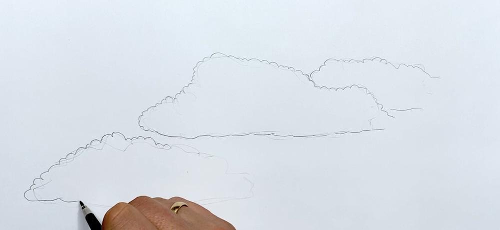 Wolken Zeichnen Schritt 1 - Konturen einzeichnen
