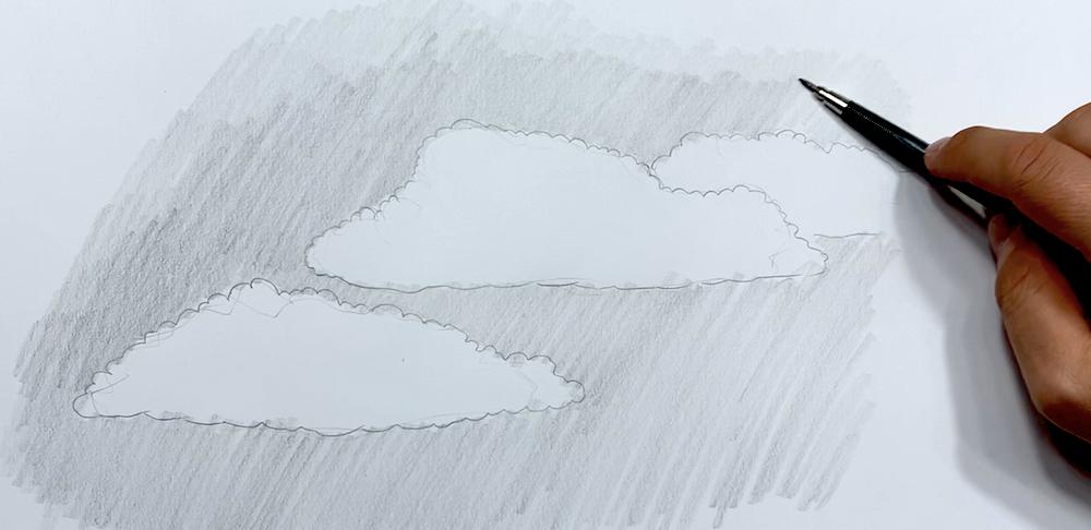 Wolken Zeichnen Schritt 2 - Himmel einzeichnen