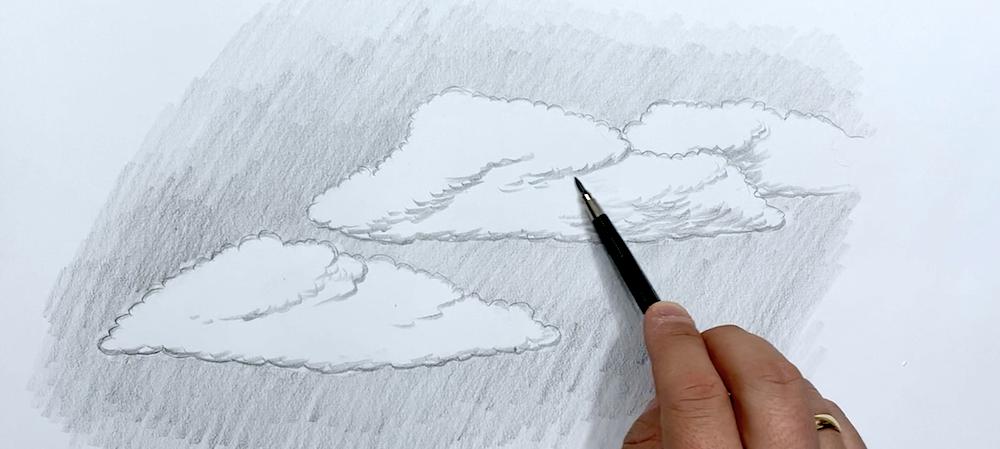 Wolken Zeichnen Schritt 4 - Struktur der Wolke detaillieren
