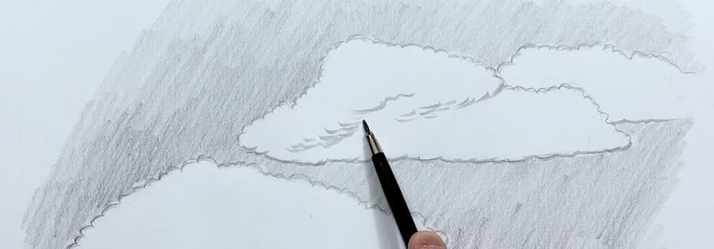 Wolken Zeichnen Schritt 4 - Struktur der Wolke grob einzeichnen