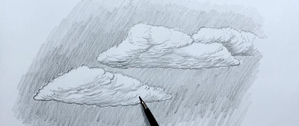 Wolken Zeichnen Schritt 5 - Schatten der Wolke einzeichnen