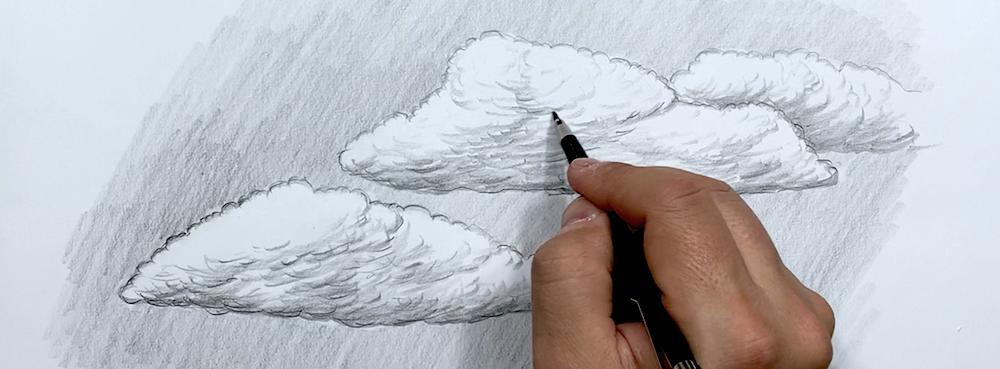 Wolken Zeichnen Schritt 6 - Mit der Spitze die Konturen einzeichnen