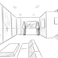 Raum in 1-Punkt Perspektive Zeichnen - Raum Perspektive