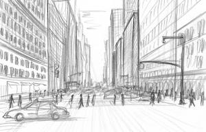 Perspektivische Skizzen Zeichnung