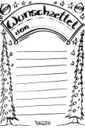 Wunschzettel Voralge und Ausmalbild 1