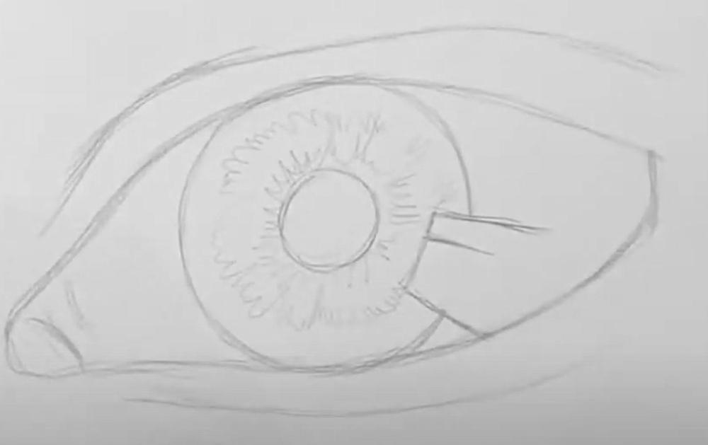 Auge Zeichnen Schritt 1 - Skizze