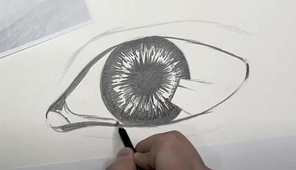 Auge Zeichnen Schritt 3 - Konturen einzeichnen