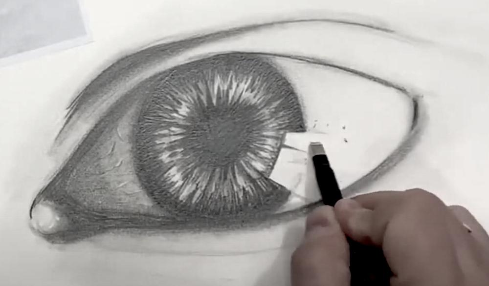 Auge Zeichnen Schritt 4 - Helle Bereiche mit dem Radiergummi definieren