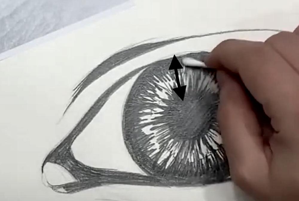 Auge Zeichnen Schritt 4 - Konturen verwischen in der Iris