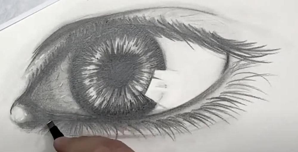 Auge Zeichnen Schritt 5 - Helle Bereiche radieren