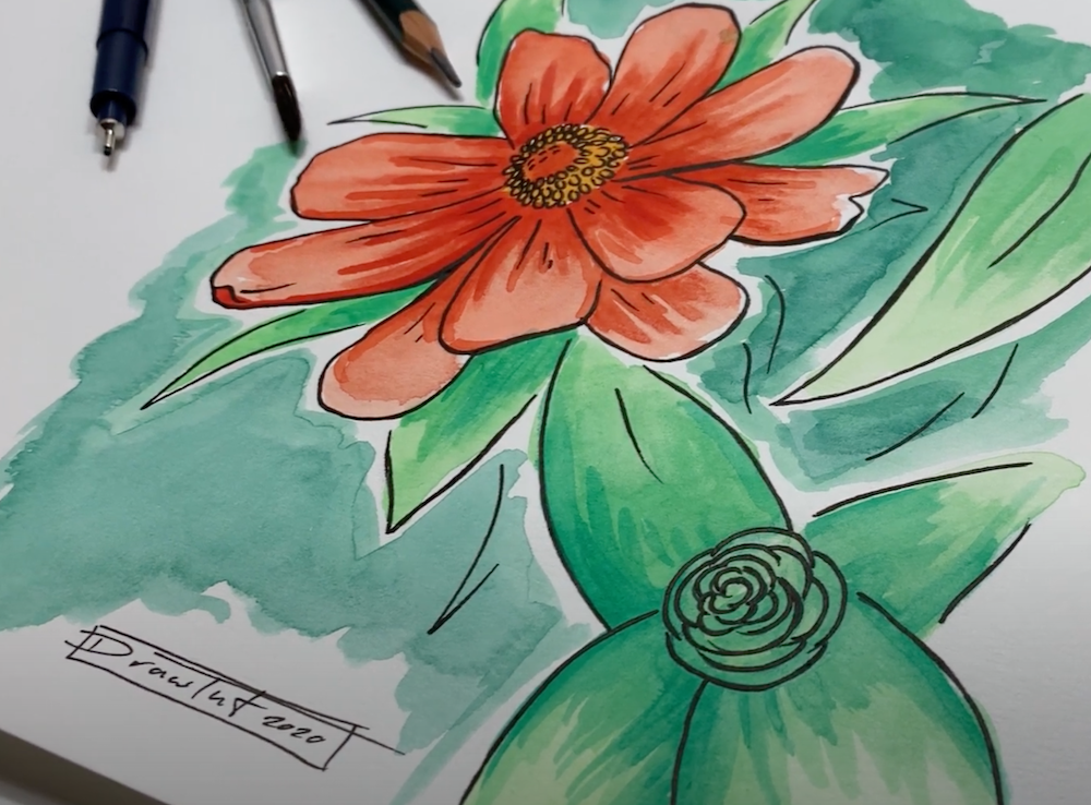 Blume Zeichnen Anleitung und Übung