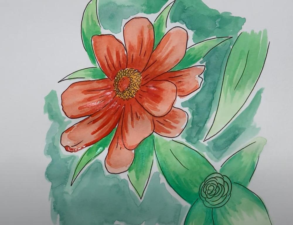 Fertige ausgemalte Zeichnung einer Blume