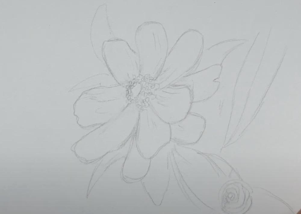 Skizze der Blume nicht zu detaillreich gestalten