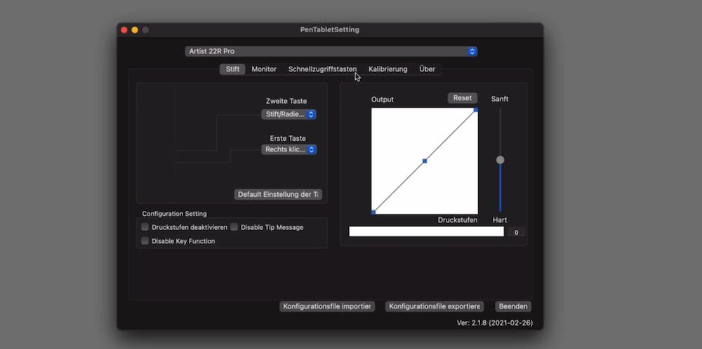 XP-PEN Treiber Konfiguration Stift
