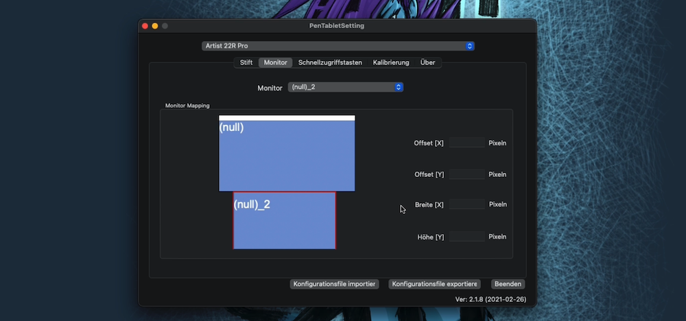 XP-PEN Tablet Bildschirm auswählen