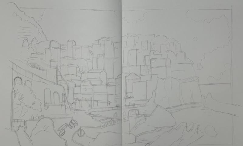 Landschaft Zeichnen Bleistift Skizze
