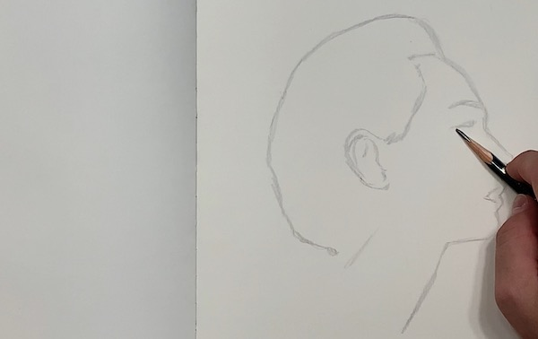 Portrait Skizze - Konturen vorskizzieren