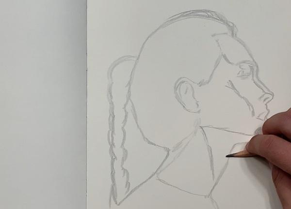 Portrait Skizze - Schatten skizzieren