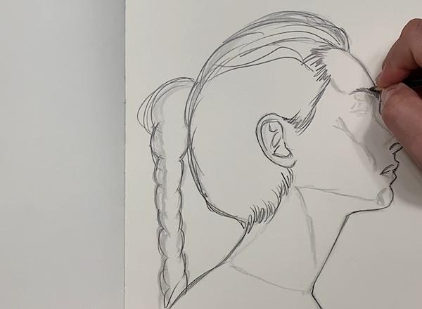 Portrait Skizze - Konturen einzeichnen