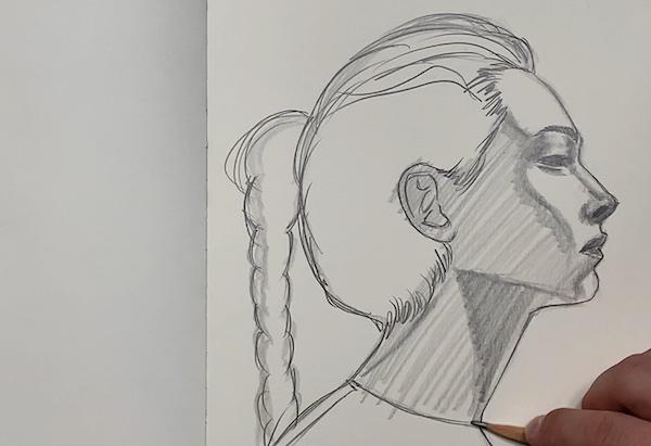 Portrait Skizze - Schraffuren einzeichnen