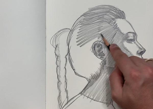 Portrait Skizze - Schraffur der Haare