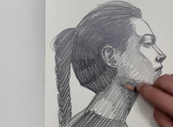 Portrait Skizze - Dunkle Bereiche schraffieren