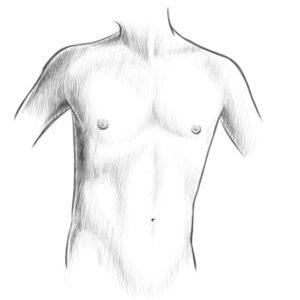 Menschen zeichnen Brust Bauch