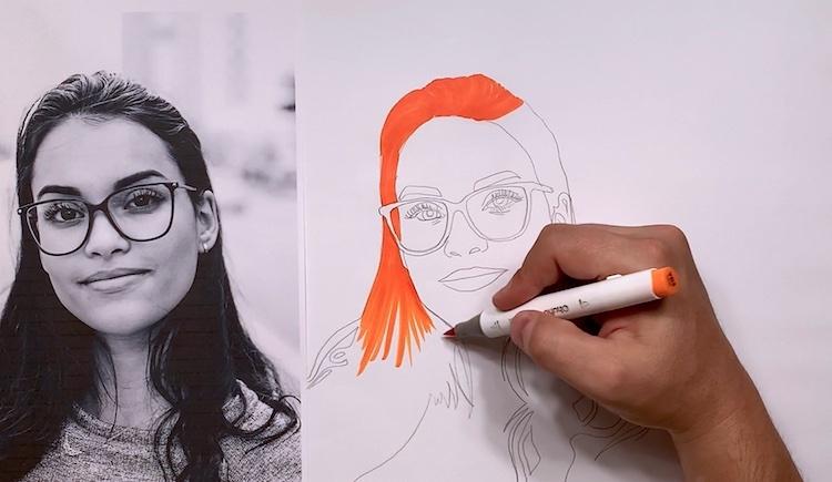 Haare mit einem Marker, Buntstift oder Wasserfarben ausmalen