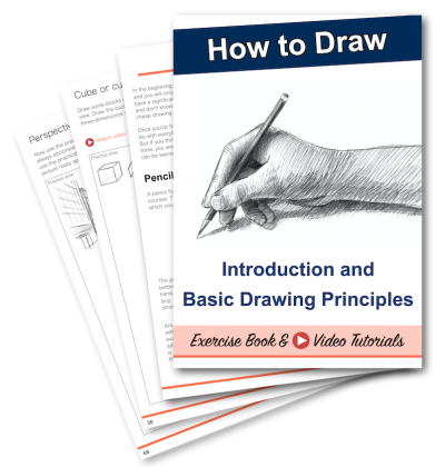 Learning to draw - introduction and drawing basics for beginners - exercise book & video tutorials