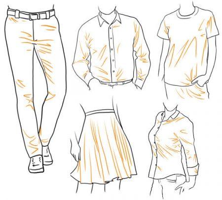 Menschen Kleidung zeichnen