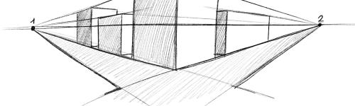 Perspektive zeichnen - Perspektive mit zwei Fluchtpunkten